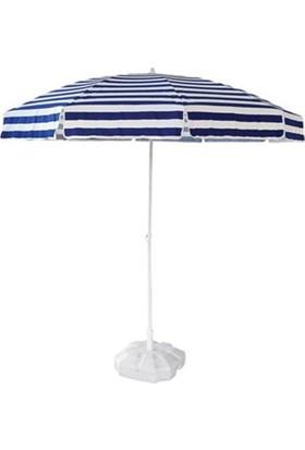 Tevalli 2 metre Plaj Balkon Mavi Bahçe Şemsiyesi + 20lt Bidon