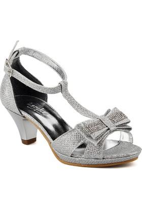 Sarıkaya Gümüş Abiye Taşlı Topuklu Kız Çocuk Ayakkabı