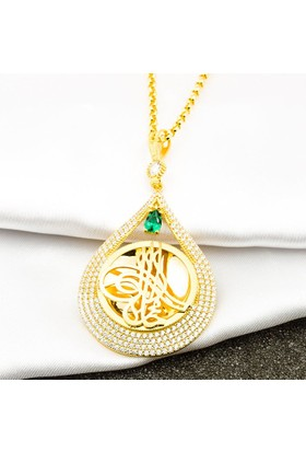 Bilezikci Çeyrek Altın Tuğralı Yeşil Taşlı Zincirli Altın Kolye