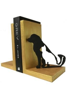 Mutlu Panda Ahşap Kitap Desteği Kitap Tutucu El Yapımı Kedi ve Köpek Temalı