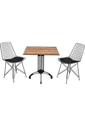 Arsayt 70 x 70 Açık Ceviz Desenli Kompakt Masa + 2 Sandalye
