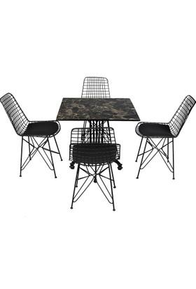 Arsayt 70 x 70 Siyah Mermer Desenli Kompakt Masa + 4 Tel Sandalye