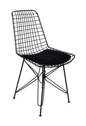 Arsayt Özel Tasarım Siyah Tel Sandalye
