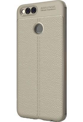 Ehr. Huawei Y7 2018 Darbeye Karşı Lüx Deri Silikon Kılıf + Ekran Koruyucu Cam