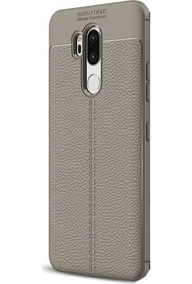 Ehr. LG G7 Darbeye Karşı Ultra Lüx Deri Silikon Kılıf + Ekran Koruyucu Cam