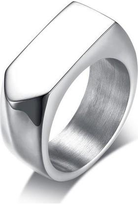 Chavin Parlak Gri Köşeli Erkek Çelik Yüzük Ds94
