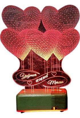 Vipyol Sevgili Hediyesi İsimli Gece Lambası 5 Kalpli Lamba