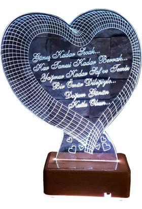Vipyol Doğumgünü Hediyesi Büyük Kalpli Gece Lambası İsimli Sevgili Hediyesi