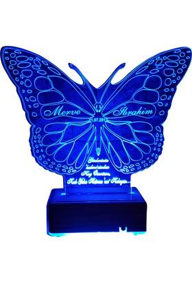 Vipyol Kelebek Gece Lambası İsimli Sevgili Hediyesi İsimli Gece Lambası