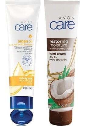 Avon Care Hindistan Cevizi Yağı İçeren El Kremi + Care Argan Yağı, Gliserin Ve E Vitamini İçeren El, Tırnak Ve Kütikül Kremi