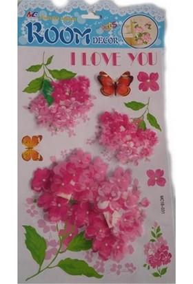 Room Dekor 5D Büyük Pembe Çiçek Kabartmalı Duvar Stickers