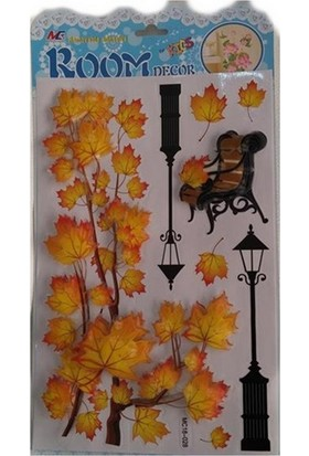 Room Dekor 5D Büyük Sarı Kurumuş Ağaç Yapraklı Kabartmalı Duvar Stickers