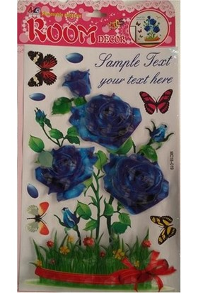 Room Dekor 5D Büyük Mavi Gül Kabartmalı Duvar Stickers