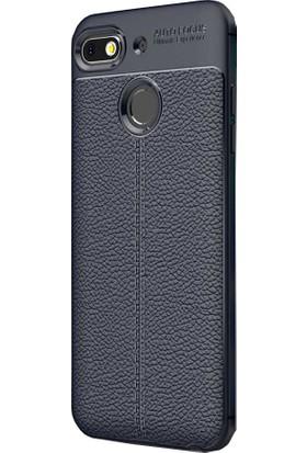 CoverZone General Mobile GM 8 Go Kılıf Deri Görünümlü Silikon Kılıf Lacivert