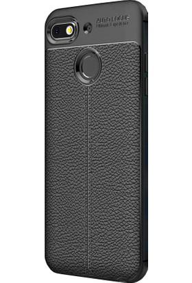 CoverZone General Mobile GM 8 Go Kılıf Deri Görünümlü Silikon Kılıf Siyah + Temperli Ekran Koruma