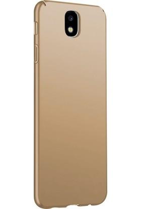 CoverZone Samsung Galaxy A6 Plus Kılıf 2018 Soft Rubber Kapak Altın + Temperli Ekran Koruma