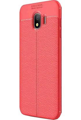 CoverZone Samsung Galaxy J4 Kılıf Deri Görünümlü Silikon Kılıf Kırmızı