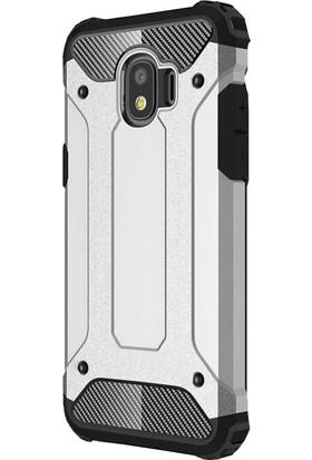 CoverZone Samsung Galaxy J7 Duo Kılıf Zırhlı Shockproof Silikon Gümüş + Temperli Ekran Koruma