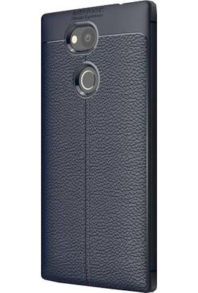 CoverZone Sony Xperia XA2 Ultra Kılıf Deri Görünümlü Silikon Kılıf Lacivert + Temperli Ekran Koruma