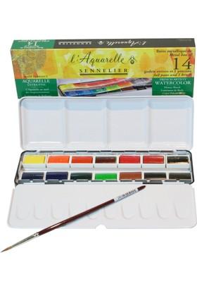 Sennelier Aquarelle Suluboya Seti 14 Renk + Fırça Hediyeli N:131615