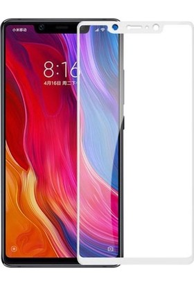 Dafoni Xiaomi Mi 8 Curve Tempered Glass Premium Full Beyaz Cam Ekran Koruyucu