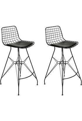 Sarsam Tel Bar Sandalyesi Siyah 2'Li Set