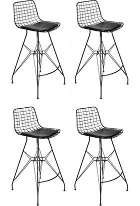 Sarsam Tel Bar Sandalyesi Siyah 4'Lü Set