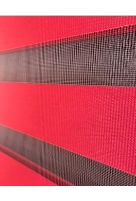 Evrem SD2127 0118 Kırmızı Zebra Perde Etek Dilimli + Boncuklu 40x200