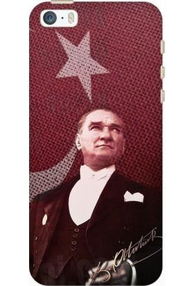 Kılıfland Apple iPhone 5/5S/SE Desenli Esnek Silikon Arka Kapak - M.K Atatürk