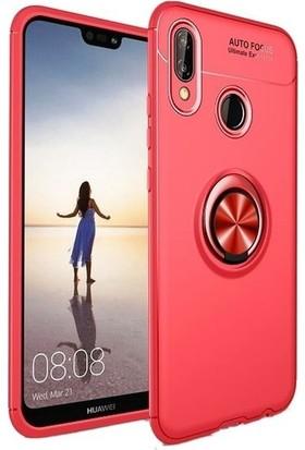 Teleplus Huawei P20 Lite Ravel Yüzüklü Silikon Kılıf Kırmızı + Nano Ekran Koruyucu