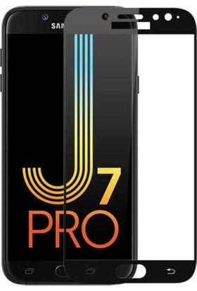 Teleplus Samsung Galaxy J7 Pro 5D Tam Kapatan Ekran Koruyucu Cam Siyah