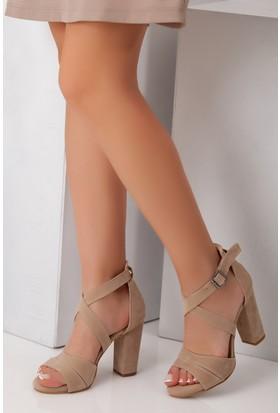Tarçın TRC01-0009 Kadın Taş Süet Topuklu Ayakkabı