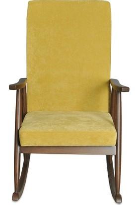 Moon Design Teksas Ceviz-Sari Döşemeli Sallanan Sandalye