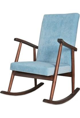 Moon Design Teksas Ceviz Mavi Sallanan Sandalye