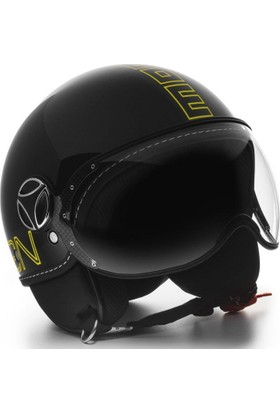 Momo Design Fgtr Glam Parlak Siyah, Sarı Logo Large Kask