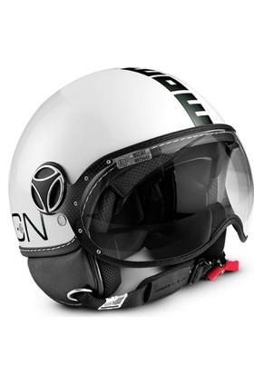 Momo Design Fgtr Classic Parlak Beyaz, Siyah Logo Large Kask