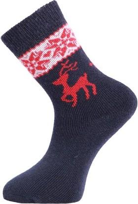 Panthzer Casual Wool Kadın Çorap Lacivert/Kırmızı