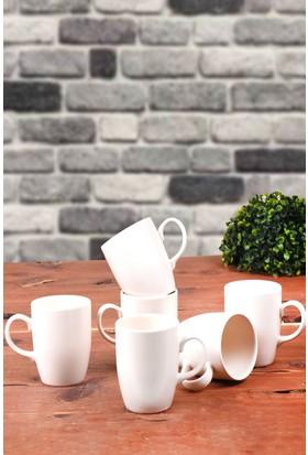 Keramika 6 Adet 9 Cm Mat Transfaran Beyaz Bulut Kupa