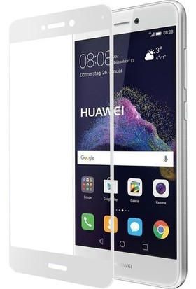 CoverZone Huawei P9 Lite Mini 3D Tam Kaplayan Cam Beyaz