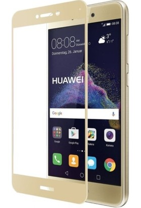 CoverZone Huawei P9 Lite Mini 3D Tam Kaplayan Cam Gold