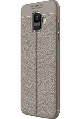 CoverZone Samsung Galaxy A6 2018 Kılıf Deri Görünümlü Silikon Kılıf Antrasit