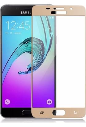 CoverZone Samsung Galaxy A7 2016 A710 3D Tam Kaplayan Cam Gold