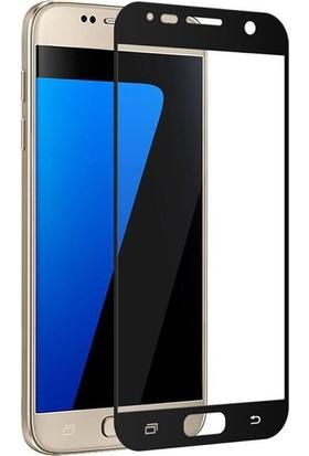 CoverZone Samsung Galaxy A7 2017 A720 3D Tam Kaplayan Cam Siyah
