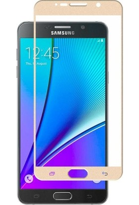 CoverZone Samsung Galaxy A8 2018 3D Tam Kaplayan Cam Altın