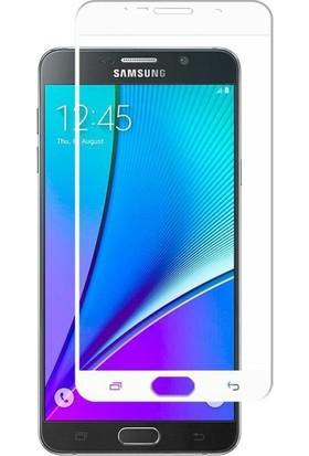 CoverZone Samsung Galaxy A8 2018 3D Tam Kaplayan Cam Beyaz