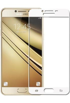 CoverZone Samsung Galaxy C5 3D Tam Kaplayan Cam Rose Gold
