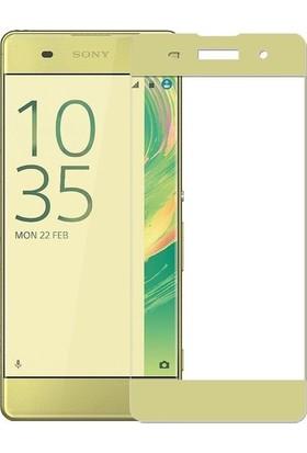 CoverZone Sony Xperia XA1 Plus 3D Tam Kaplayan Cam Gold