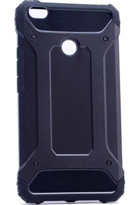 Case 4U Huawei P9 Lite 2017 Kılıf Zırh Koruma + Temperli Cam Ekran Koruyucu Siyah