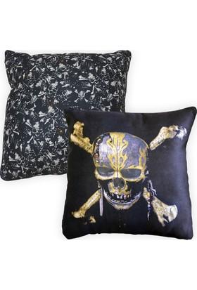Smiley World Karayip Korsanları Skull Baskılı Yastık