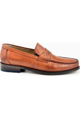 Nevzat Onay Bağcıksız Safran Rengi Deri Kösele Erkek Ayakkabı
